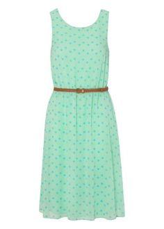 Chiffon Midi Spot Print Prom Dress
