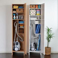 Utility Room Storage, Diy Storage Shelves, Home Decor Shelves, Laundry Room Organization, Home Decor Furniture, Small Laundry Rooms, Laundry Room Design, Vacuum Cleaner Storage, Laundry Cupboard