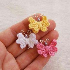 Butterfly crochet earrings scontent-b., süsse Idee Butterfly crochet earrings scontent-b. Crochet Butterfly Pattern, Crochet Earrings Pattern, Crochet Flowers, Crochet Crafts, Yarn Crafts, Crochet Projects, Diy Crafts, Crochet Motifs, Crochet Patterns