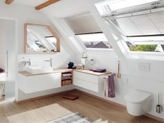 This small attic bathroom is gaining in size with our bespoke furniture. # Bathroom furniture # bathroom furniture # mueblesdebaño Source by absolutbad Attic Bathroom, Modern Bathroom, Small Bathroom, Bathroom Ideas, Bad Inspiration, Bathroom Inspiration, Attic Spaces, Small Spaces, Beautiful Bathrooms