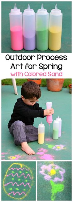 Spring Activities for Kids: Head outside and draw pictures with spring colored sand! Fun sensory activity for toddlers and preschoolers to do this spring or Easter! ~ BuggyandBuddy.com