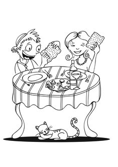 coloring page eating matza click on picture to print