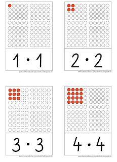 hier die Quadratzahlen als Aufgabenkarten