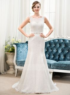 Trumpet/Mermaid Scoop Neck Sweep Train Satin Lace Wedding Dress With Beading Sequins (002054357) - JJsHouse