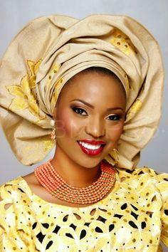All About African Weddings, Beautiful African bride in Yellow wedding dress and headdress.