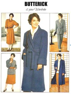 80s BUTTERICK 6768 SEPARATES UNCUT Sewing Pattern - Vintage 1984, Sizes 14 16 18 - 6 pc. Wardrobe - Coat, Jacket, Skirt, Pants, Top, Belt Vintage Sewing Patterns, Paper Patterns, Sewing Ideas, Plus Size Patterns, Etsy Vintage, Vintage Paper, Love Sewing, 1940s Fashion, Sewing Notions