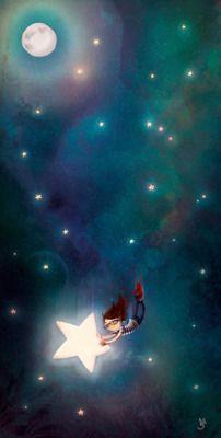 Last week's Illustration Fridays topic was Onomatopoeia. Falling From The Sky, Falling Stars, Sun Moon Stars, Sun And Stars, Illustrations, Illustration Art, Moon Art, Whimsical Art, Night Skies