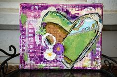 Patchwork Heart Altered Canvas by Virginia Tillery