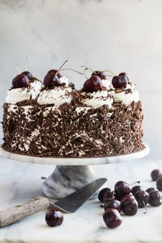 It doesn't get any more spectacular than Black Forest Cake: luscious chocolate sponge cake layers brushed with cherry liqueur and filled with cherries. Sponge Cake Recipes, Cupcake Recipes, Cupcake Cakes, Dessert Recipes, Giant Cake, Cherry Liqueur, Chocolate Sponge Cake, Sweetened Whipped Cream, Black Forest Cake
