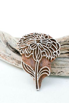 Hand Carved Stamp  flower 189 por TATAindianwoodstamps en Etsy, $15,50