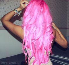 bright pink hair.