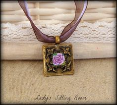 Flower rose polymer clay vintage pendant hand made by jewelryfimo, $35.00
