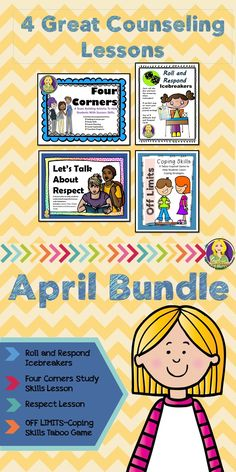 The April Bundle has 4 great lesson plans to help you teach study skills, respect, Coping skills, and new icebreakers for your lunch bunch groups!