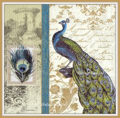 SALE *** TWO Paper napkins for DECOUPAGE - Vintage Peacock Blue and Gold #211 by VintageNapkins on Etsy