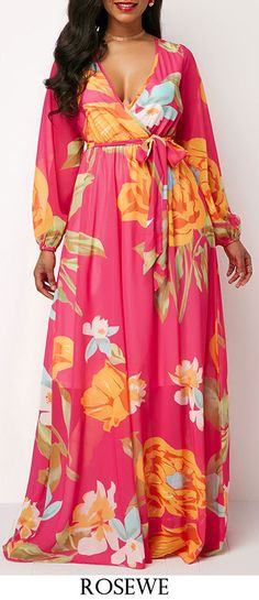 Long Sleeve Floral Print Belted Maxi Dress