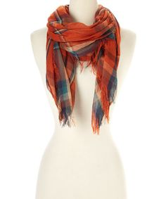 Look what I found on #zulily! Orange Plaid Fringe Scarf #zulilyfinds