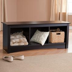 Prepac Sonoma Black Cubbie Bench Made of highly durable, laminated wood composite  Sleek black finish  3 cubby compartments for plenty of storage  Contemporary design with arching kick plate  Dimensions: 48W x 15.75D x 20H   $105.99