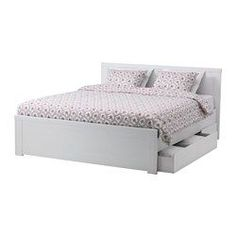 IKEA - BRUSALI, Bed frame with 4 storage boxes, Double, Luröy, , The 4 large drawers on castors give you an extra storage space under the bed.Adjustable bed sides allow you to use mattresses of different thicknesses.16 slats of layer-glued birch adjust to your body weight and increase the suppleness of the mattress.