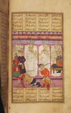 Kay Khusraw kills Guruy Shahnama, Ferdowsi - 1009/1600 Princeton Islamic MSS., no. 59G