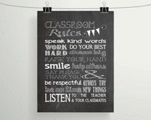 Chalkboard Classroom Rules Printable  - Teacher Gift - Subway/Typography Art - Teacher Appeciation Gift, 8x10