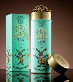 TWG Tea Party Tea found in Vancouver Gift Locally Baskets www. Luxury Packaging, Tea Packaging, Pretty Packaging, Brand Packaging, Twg Tea, Label Design, Package Design, Design Design, Graphic Design