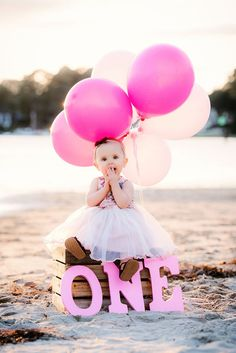 Cute one year old girl portraits on the beach with balloons. Beach Engagement, Engagement Pictures, Engagement Photography, Wedding Photography, Girl Portraits, Perspective Photography, Beach Family Photos, One Year Old, Photography Services