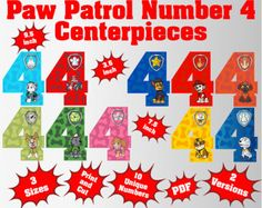 Paw Patrol Number 4 Centerpieces | 3 Sizes | 2 Version | 10 Unique Number 4 Centerpieces | Paw Patrol Birthday | Paw Patrol printable