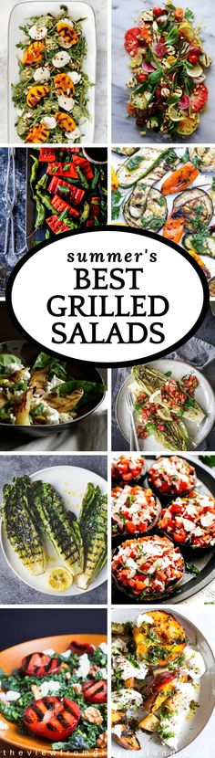 Summer's Best Grilled Salads ~ go ahead, throw your favorite salad on the barbie, it can take the heat! In fact, sturdy greens, veggies, and even fruits can be grilled right alongside those burgers for the most awesome salads of the season. #salad #grilling #summer #memorialday #4thofjuly #grilledlettuce #grilledvegetables #grilledpeaches #grilledtomatoes #grilledwatermelon #grilledcorn #grilledeggplant #Grilledromaine #grilledmushrooms #grilledpears via @https://www.pinterest.com/slmoran21/
