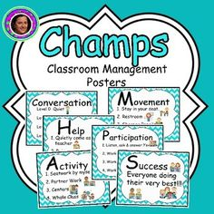 Champs Posters Teal Chevron Theme Champs Classroom Management PostersChamps stands for C: Conversation, H: Help, A: Activity, M: Movement, P: Participation & S: Success. It defines exactly what children are expected to do before each lesson. These are the posters I use in my Kindergarten class to review CHAMPS before each lesson at the beginning of the year or whenever they are needed.
