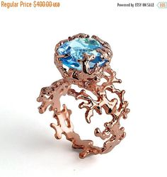 Mothers Day Gift CORAL Blue Topaz Engagement Ring Rose Gold
