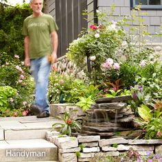DIY Garden Waterfalls • Ideas  Tutorials! Including this backyard waterfall project from the family handyman.