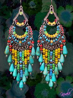 kerala  Handmade Exotic Chandelier Earrings