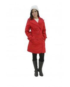 56916b58cb Trench Coat Vermelho Oficina de Inverno Roupa Térmica