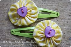 Yo Yo Hair Clips Yellow Gingham with Purple by LoopyBirdsBoutique, Crochet Projects, Sewing Projects, Craft Projects, Christmas Shoebox, Fall Crafts, Diy Crafts, Tiny Gifts, Hobbies That Make Money, Operation Christmas Child