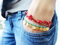 Ethnic bracelet red turquoise evil eye money charm by Handemadeit