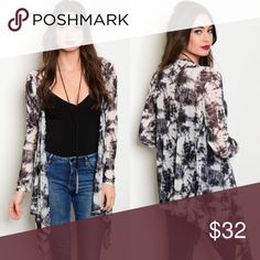 Ivory & Black Tie-Dye Lightweight Cardigan New with tags. Black & ivory tie-dye lightweight semi-sheer cardigan.                                        100% polyester.                                                                   PRICE IS FIRM UNLESS BUNDLED.                                 ❌SORRY, NO TRADES. Boutique Tops