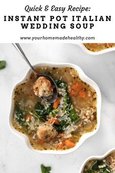 Instant pot Italian wedding soup is a warm and comforting soup for any occasion! It's quick, easy, and packed full of healthy ingredients. Serve it as a family dinner, quick and healthy lunch, or simple appetizer. Made with lots of vegetables, tender and juicy chicken meatballs, and clear chicken broth, this soup is as good for you as it is delicious! Store any extra in your freezer, and you'll be so happy to have a healing, healthy meal year round! Ground Chicken Recipes, Wedding Soup, Using A Pressure Cooker, Chicken Meatballs, Healthy Soup Recipes, Asian Cooking, Freezer, Appetizer, Instant Pot