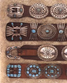 Millicent Rogers Museum, Taos, New Mexico - turquoise and silver concho belts, Navajo, Native American