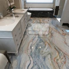 Waterproof Wallpaper 3D Marble Floor Tiles - 1 ㎡