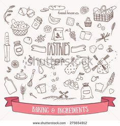 Bread, Pastry And Baking Ingredients Doodle Set. Hand Drawn Vector Illustration. - 275654912 : Shutterstock