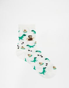 Image 2 of ASOS Ankle Socks With Dinosaur Caveman and Egg Design