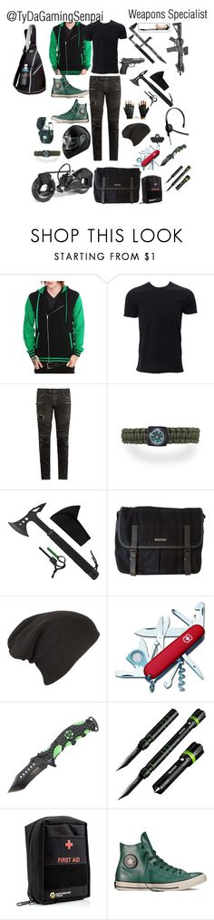 """Zombie Apocalypse Squad - TyDaSenpai - Weapons Specialist"" by mimi-minecrafter on Polyvore featuring Balmain, Burberry, Victorinox Swiss Army, Cree, Converse, Preferred Nation, men's fashion, menswear, zombies and zombie"