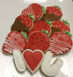 Chocolate Covered Strawberries Love - Decorated Sugar Cookies by I Am The Cookie Lady