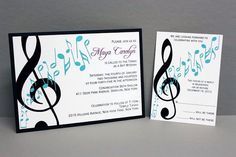 Music Note Invitation by DivoneDesign on Etsy