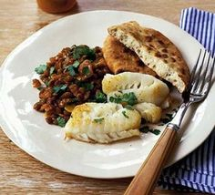 Fish with spiced lentils