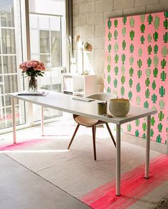 Mind blown by this bold + bright workspace tour. Such a fun pop of colour from the pink + green cactus wall art | @workspacegoals