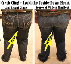 Plus Sized Jeans Fashion Tip # 4: How to avoid the dreaded Crack Cling and Upside-Down Heart.