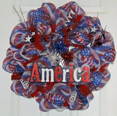 Patriotic Mesh Wreath- Making my own, SO excited!!