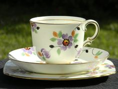 Plant Tuscan Hand Painted English Bone China Trio - Art Deco Teacup Saucer and Side Plate