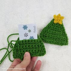 Crochet Gift Card Holder - Crochet Christmas Tree Pattern Mini - Crochet Tree Gift Card Holder – Great for Christmas Gift Cards by Rescued Paw Designs - Crochet Christmas Gifts, Christmas Tree Pattern, Christmas Crochet Patterns, Holiday Crochet, Crochet Gifts, Christmas Knitting, Crochet Tree, Crochet Ornaments, Cute Crochet